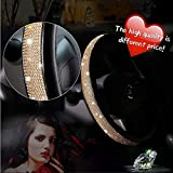 Diamond Crystal Steering wheel Cover for Women - Universal automotive diamond car accessories, Bling Bling Crystal Rhinestone Steering Wheel Cover for Girls Birthday Gifts Golden 15 Inch (38mm)