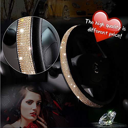AotoKoop Rose Gold Steering Wheel Cover for Women, Bling Diamonds Steering Wheel Cover - 15 Inches (38cm)