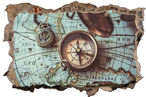 Kompass Weltkarte Wandtattoo Wandsticker Wandaufkleber D0845 Größe 60 cm x 90 cm