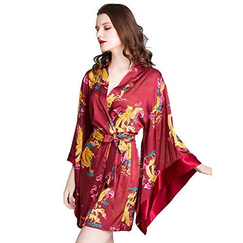 Kimono Robes for Women, Phoenix Cloud Printed Big mouwen Korte bruidsmeisjekleding En Bride Robe voor Wedding Party,M