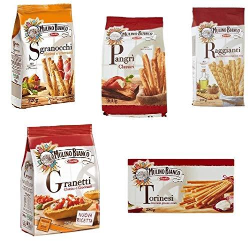 Testpaket Mulino bianco grissini brotstick Knusper brot Croutons Crackers Blätterteigstangen 5 pz