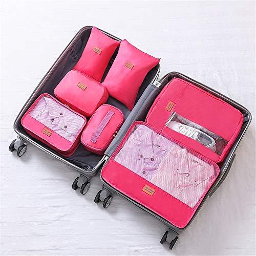 Cubos de Embalaje de Viaje Conjunto De 7pcs bolsas impermeables almacenaje de la ropa Cubos de viajes organizadores Las bolsas de ropa Calzado Bolsos de artículos de tocador de almacenamiento de cable