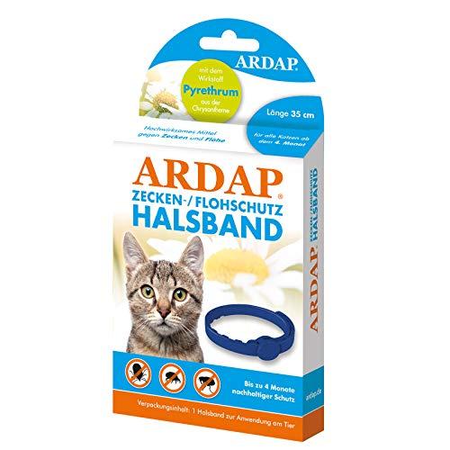 ARDAP Zecken- & Flohschutzhalsband für Katzen ab dem 4. Monat - Bis zu 4 Monate nachhaltiger Langzeitschutz - Natürlicher Wirkstoff gegen Zecken & Flöhe