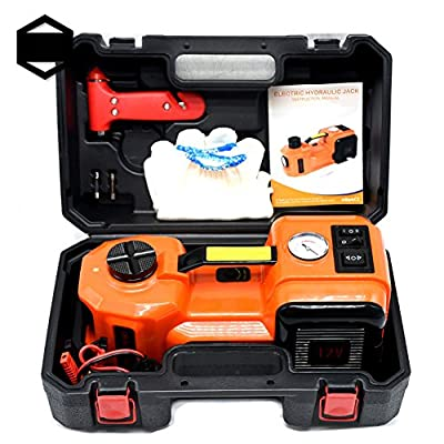 GOGOLO 3.5T(7700lb) Capacity Electric Hydraulic DC12V Car Floor Jack Kit Including Emergency Tire Inflator Pump with LED & Electric Impact Wrench for Car, SUV
