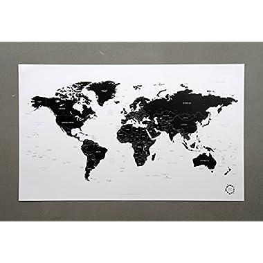 White and Black World Map Unique Design Poster Print Traveler