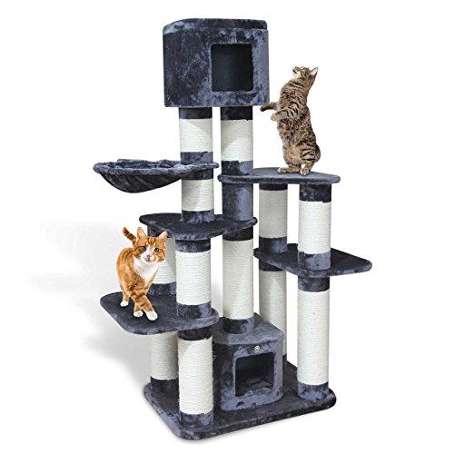 CanadianCat Company ® | Kratzbaum - Toronto 1 XXL mit 15cmØ Kratzstämme ca. 124x60x170cm speziell für große und schwere Katzen wie Main Coon