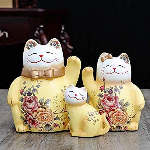 LYMUP Creatividad, Decoraciones Arte Artesanía Escultura Gato y Gato Cerámica alcancía Gabinete TV Hogar Regalo (Color: D)