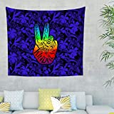 Dogedou Peace Wandbehänge Mehrfarbige Tischdecke Blanket Wand Deko Kissen White 100x150cm