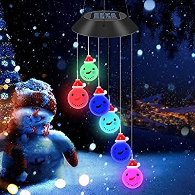 Mosteck Solar Snowman Wind Chime Color Changing Waterproof Solar Mobile Wind Chime Outdoor Christmas New Year Decoration for Home Party Night Garden