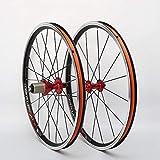 Bicicleta plegable de ruedas 20 / 22inch Pequeño ruedas de la bici de aleación de aluminio llanta delantera trasera 2 4 cojinete del eje del lanzamiento de Red V rápida del freno (un par de ruedas)