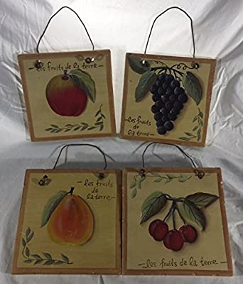 Zucchini and Vine - Fruit of the Earth Hanging Ceramic Decorative Wall Tiles-Set of