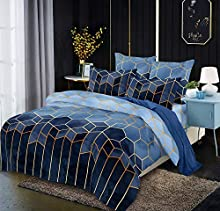 Ropa de cama azul 220 x 240 funda nórdica a rayas 3 piezas azul funda nórdica geométrico cuadros rayas juego de cama microfibra moderno Exztra suave ropa de cama juego de parejas
