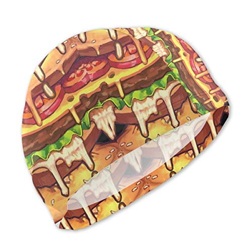 Lanswim Swim Cap for Girls Boys Kids Teens, Waterproof Hair Swimming Caps Special Printed Kids Comfortable Fit Swim Cap for Hamburger Food Texture