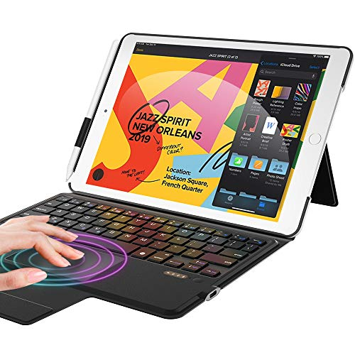 Touchpad Keyboard for iPad 8th Generation/7th Gen, iPad 10.2 Case with Keyboard, Apple Pencil Holder & Magic Trackpad & Smart Touch Keyboard for iPad 10.2 inch 2020, iPad Air 3rd Gen/Pro 10.5, Black