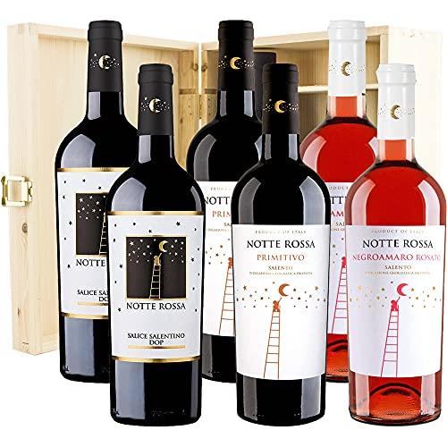 Confezione Regalo Vino Rosso   Notte Rossa   6 Bottiglie 75cl   Cassetta Legno   Primitivo di Manduria   Salice Salentino   Negroamaro Rosè