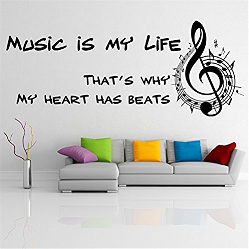 Vinilo adhesivo de pared para pared, diseño de texto en inglés 'The Art Déco Lettering Music is My Life', inspirational That Why My Heart has Beats with Music Notes