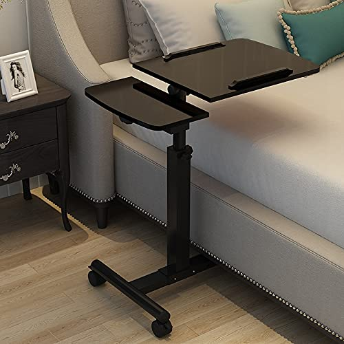 Kjy123 El Escritorio del Ordenador portátil, la Tabla Plegable del Escritorio de la computadora portátil de Giro portátil para la Cama se Puede Levantar el Escritorio de pie Muebles (Color : Negro)