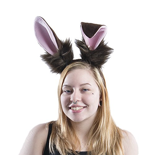 Pawstar Bunny Ear Headband Stand Up Poseable Rabbit Ears - Brown