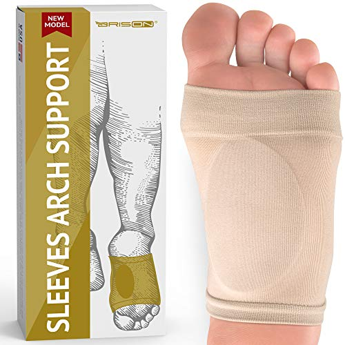Metatarsal Compression Arch Support Sleeve - Cushioned Arch Support Soft Elastic Reusable Gel Pad Fabric Arch Socks for Flat Foot Pain Relief Plantar Fasciitis Heel Spurs - Women Men