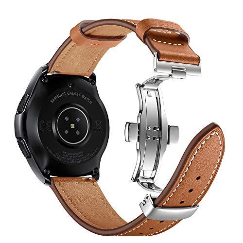 Myada Kompatibel Armband für Samsung Galaxy Watch 42mm,Armband Gear Sport Leder Ersatzband Samsung Galaxy Watch Active Lederarmband Garmin Vivoactive 3 Armband 20mm Herren Armbänder Gear S2 Classic