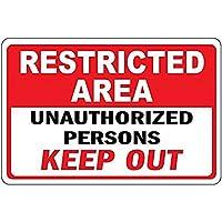 なまけ者雑貨屋 Restricted Area Unauthorized Persons Keep Out アメリカン 雑貨 アンティーク インテリア プレート ブリキ メタル 看板 警告サイン 警告板