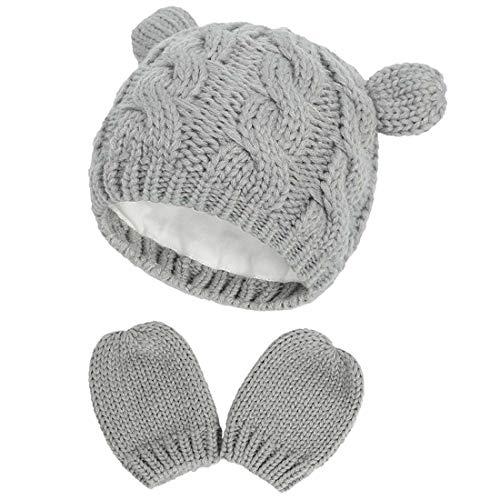 Yixda Neugeborene Baby Mütze und Handschuhe Set Kleinkind Winter Strickmütze Hüte (Grau 2, 0-3 Monate)