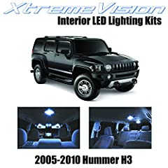 Cool White Interior LED Package for 2005-2010 Hummer H3 Package content (15 PCS): Map/Dome Lights, Vanity Sun Visor, Foot area, Trunk Light, License Plate Lights 5X Brighter than Factory Bulbs. Lasts 13X Longer. 50% Less Power Consumption. All LED bu...