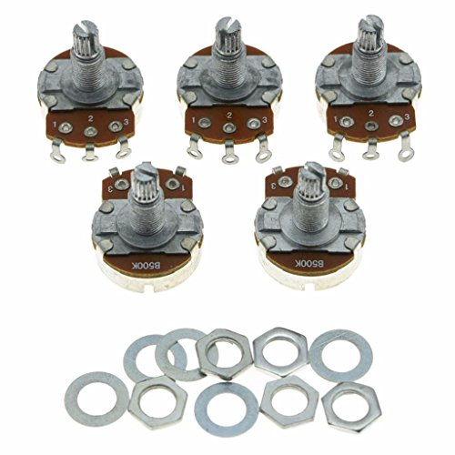 Dopro 5pcs Linear Guitar Pots Volume 500K Electric Guitar Large Pots 24mm Base with Long Split Shaft Guitar Potentiometer B500K Illinois
