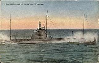 U.S. Submarine at Full Speed Ahead Navy Original Vintage Postcard