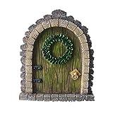 MUAMAX Fairy Garden Door Accessories Miniature Fairy Doors Wall Indoor/Outdoor Mystical Door for Tree Trunk (Brown)