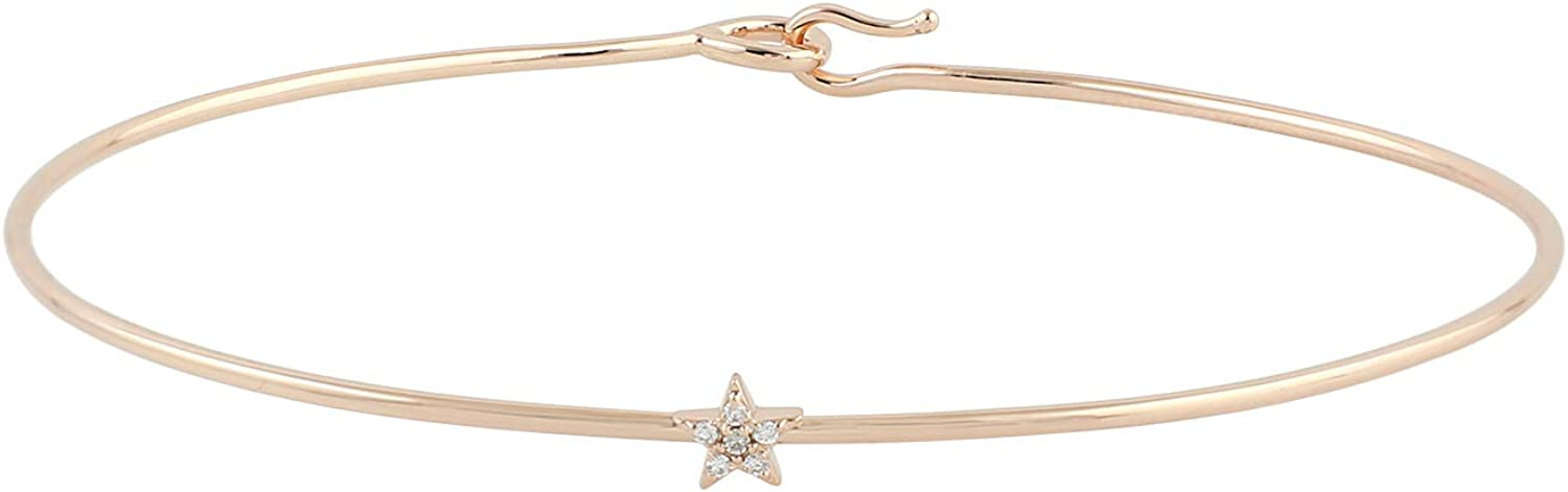 Natural Diamond Small Star Sleek Bangle Bracelet Solid 18k Rose Gold Fine Jewelry For Her Birthday Gift Wedidng Gift Surprise Gift