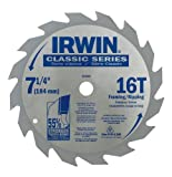 IRWIN Tools Classic Series Carbide Corded Circular Saw Blades, 7 1/4-inch, 16T, .087-inch Kerf (15030)
