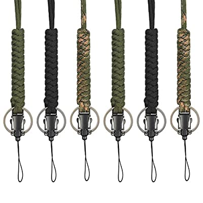 Bememo 6 Pieces Paracord Lanyard Keychain Utility Necklace Rope Cord Wrist Strap Parachute Cellphone Camera ID Holders for Outdoor Hiking Camping (Color 1)