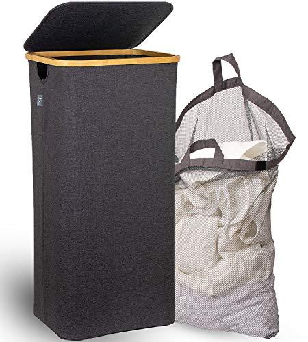 HENNEZ® XXL Wäschekorb mit Deckel 100L herausnehmbarer Sack, Wäschetonne, eleganter Bambus Wäschesammler Grau, Wäschebox Groß