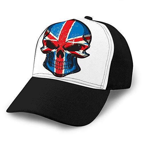 Sombrero clásico de algodón para papá Gorra Lisa Ajustable Gorra de béisbol de Mezclilla Personalizada para Adultos Bandera del Reino Unido Pintada en el cráneo Gorra de béisbol