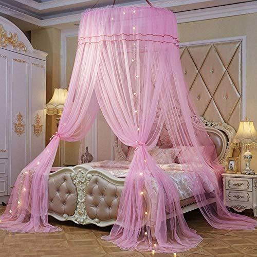 Piner Home Grote elegante klamboes voor zomer Opknoping Kid Beddengoed Ronde koepel Bed Luifel Gordijn Bed Tent met nachtlampje, roze, universeel