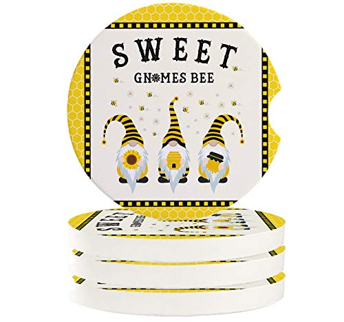 Absorbent Car Coasters for Cup Holders Set of 4 Sweet Gnomes Bee, 2.56inch Ceramic Stone Drink Coaster Car Accessories for Women Men, Yellow Honeycomb