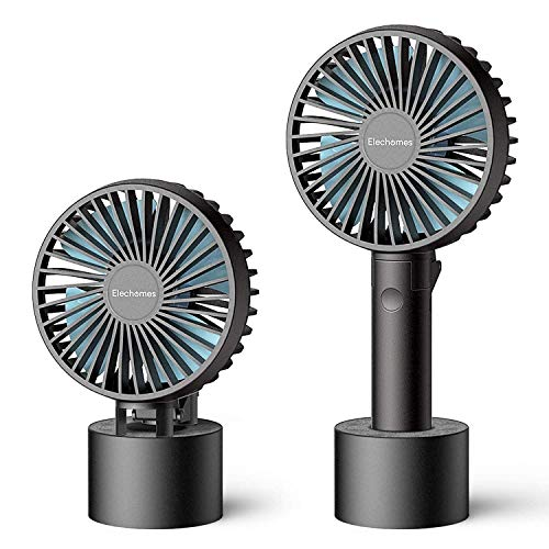 Portable USB Small Fan Handheld Mini Fan Portable Charger Mini Lamp with USB Rechargeable Detachable Base for Travel Camping 3 Speeds Great for Desktop Tabletop Office /& Travel