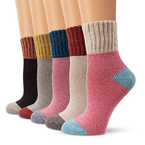 Chaussettes en laine, chaussettes femme Moliker chaussettes hiver vintage doux chaud pour hiver (5003), Multicolor, Taille unique-Lot de 5