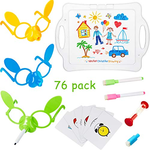 67 Pieces Nose Draw Toys Kit Includes Drawing Board, Hourglass, 3 Pieces Glasses with Strips, 8 Pieces Pens and 54 Pieces Cards for Family Board Game