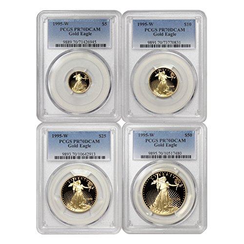 1995 W Set of 4 American Gold Eagles PR-70 Deep Cameo by CoinFolio PR70DCAM