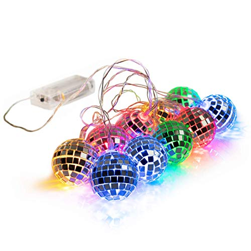 West Ivory 5.5 feet 10 Mixed Multi-Colors Mirror Disco Ball String Fairy...