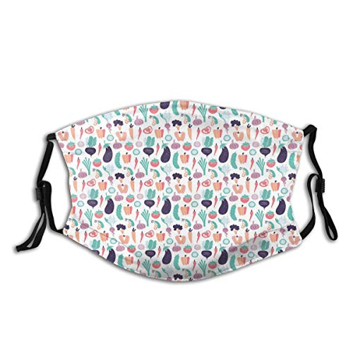 Comfortable Activated Carbon mask,Simple Pattern With Abstract Stylized Foods Pepper Eggplant Tomato Radish Garlic,Printed Facial decorations for adult