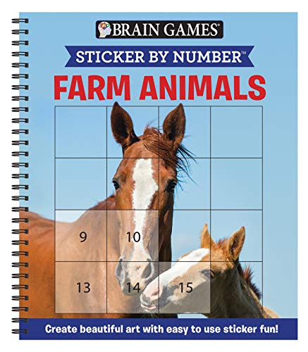 Brain Games - Sticker by Number: Farm Animals (Square Stickers): Create Beautiful Art With Easy to Use Sticker Fun!