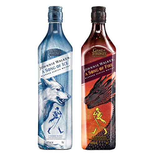Johnnie Walker Song of Fire + Johnnie Walker Song of Ice Blended Scotch Whisky, Edizione Limitata Trono di Spade, Casa Stark - 2 x 700 ml