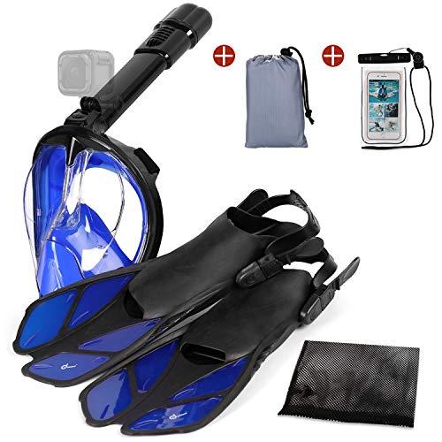 Odoland 5-in-1 Snorkeling Packages, Full Face Snorkel Mask with Adjustable Swim Fins, Lightweight Backpack and Waterproof Case, Anti-Fog Anti-Leak Snorkeling Masks Gear for Men Women, Blue, S