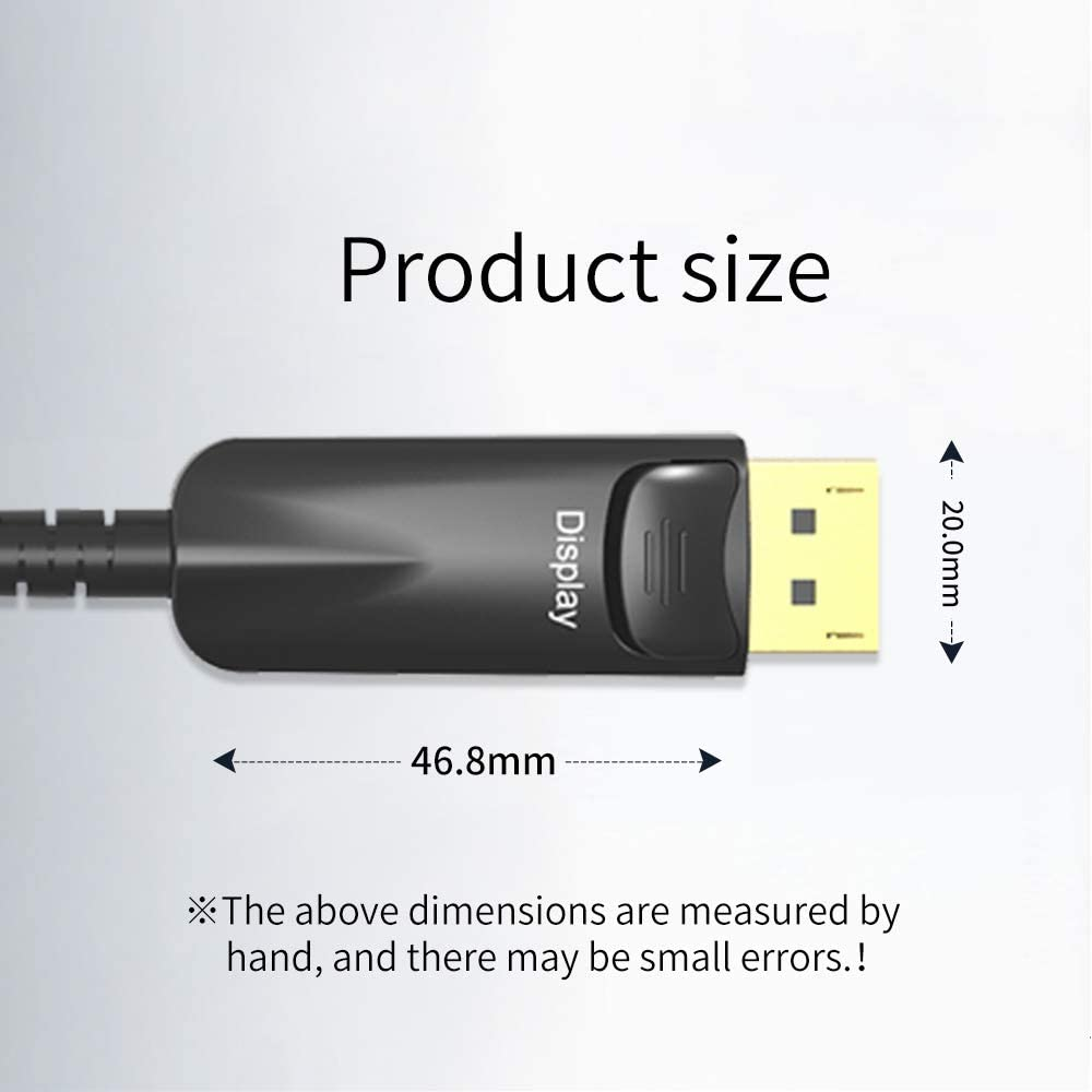 66FT Peskaul DisplayPort Fiber Optic Cable DP 1.2 Ultra HD 4K@60Hz High Speed 21.6Gbps Optic Fiber Cable DP to DP Male to Male 3D Cable