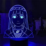 Luz nocturna 3D, 3D Led ilusión Lámpara Anime Naruto Hyuga Hinata Figura LED Luz de Noche Acrílico LED Decorativo Lámpara de Noche 7 Cambio de Color