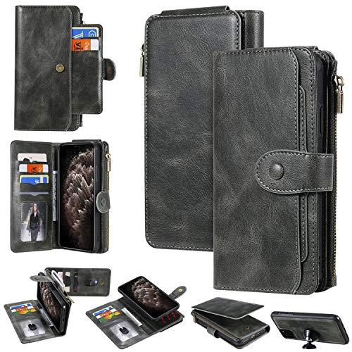 Miagon Coque Portefeuille pour Samsung Galaxy Note 10 Plus,Détachable Flip Cover Étui avec Porte Monnaie Fente pour Multiples Bourse Carte Housse de Protection,Gris