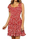 Backless Dress for Women Flowy Short Skater Dresses Strap Swing Dress with Bow Red,M
